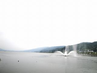 釜口水門にある噴水が出ているところ
