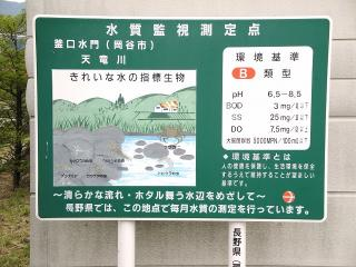 釜口水門の水質監視測定地点の看板
