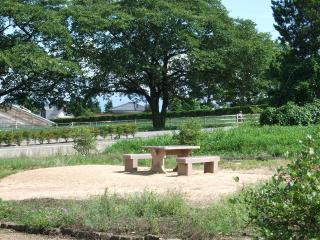 北アルプス牧場 テーブルとイス
