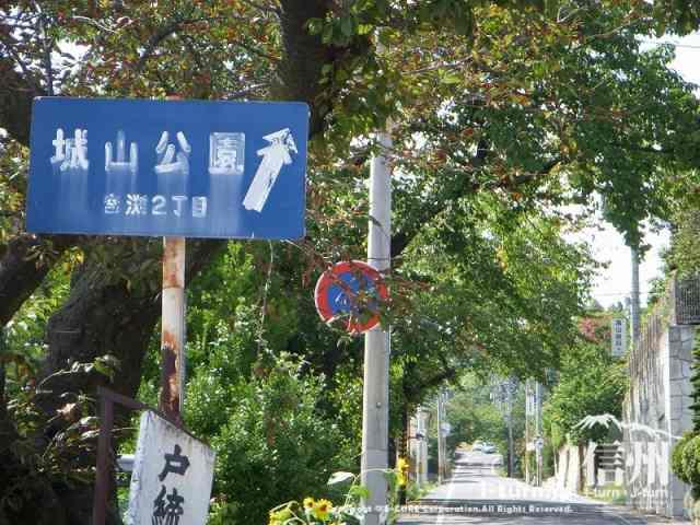 分かれ道を右へ進むと城山公園