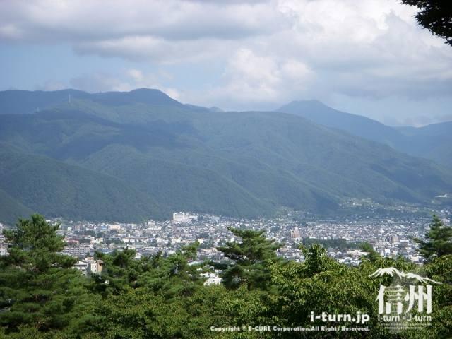 城山公園から浅間温泉街方面を見下ろします。