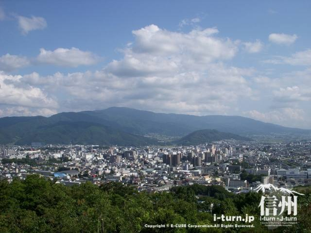 城山公園展望台から松本駅方面