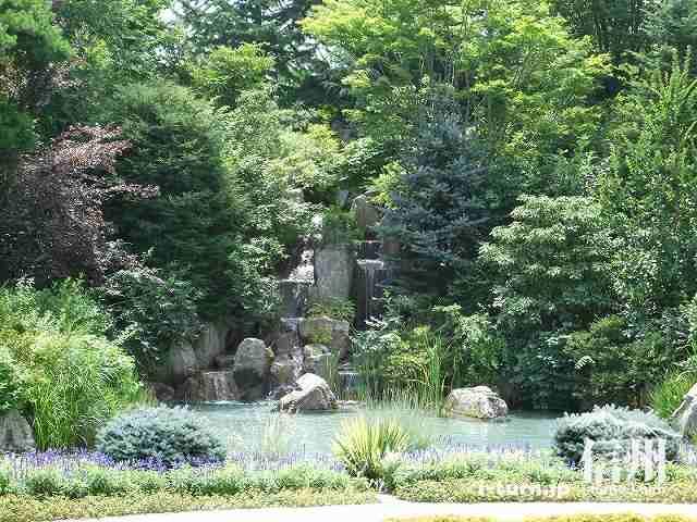 工場の前にある滝と池