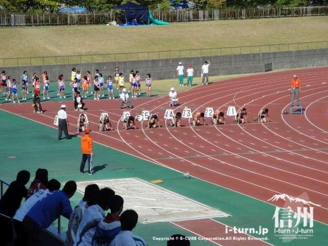 長野県大会で100メートル予選の競技