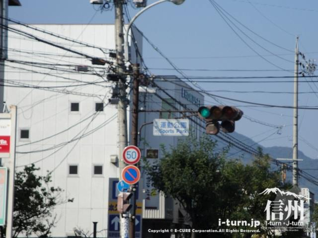 長野運動公園入り口の交差点