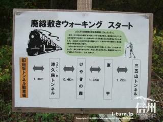 旧国鉄篠ノ井線廃線敷 白坂からウォーキングスタート