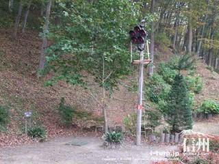 旧国鉄篠ノ井線廃線敷 信号機をそのまま残したマレットゴルフ場