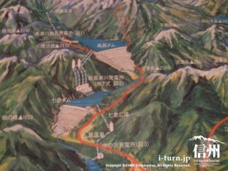 高瀬渓谷の地形図