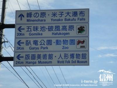 須坂市動物園までの案内看板