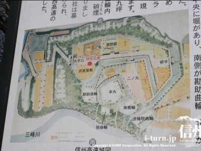 信州高遠城図の看板