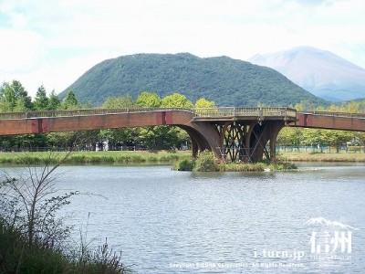 矢ケ崎公園 浅間山と離山の景観