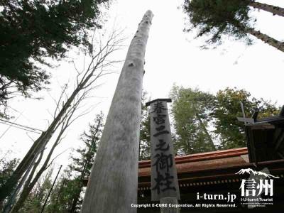 春宮二之御柱 アップ 2004年建て御柱