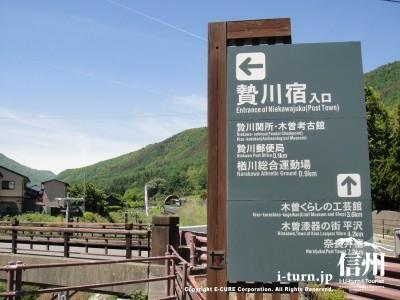 贄川宿入口看板