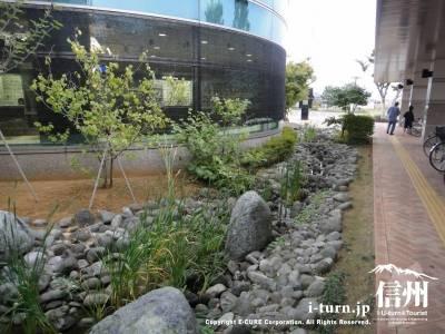 長野市民病院玄関にある小川
