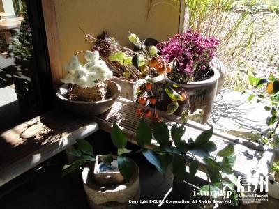 そば処さくらの玄関にある見事な生け花
