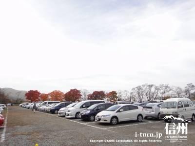 高遠城址公園の大駐車場