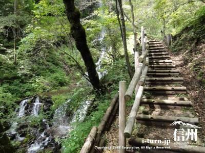 千ケ滝せせらぎ道階段と滝