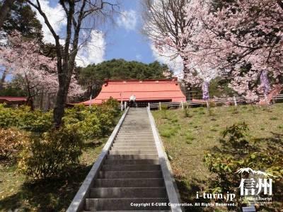 弘妙寺の階段を下から見上げたところ