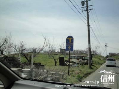 茶臼山動物園のキリンの道路看板