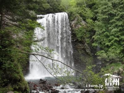 善五郎の滝|乗鞍岳を背景に雄大に流れ落ちる滝|松本市安曇