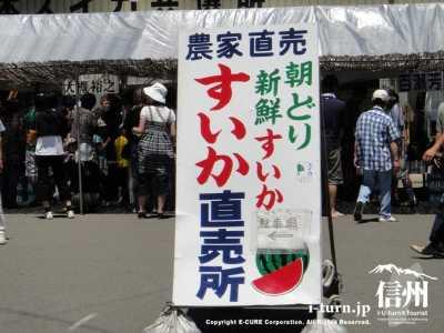 生産者による直売所「すいか村」|波田下原の採れたてスイカを直売|松本市和田