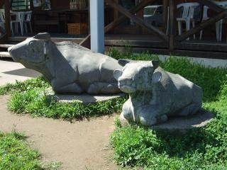 北アルプス牧場 牛の石像