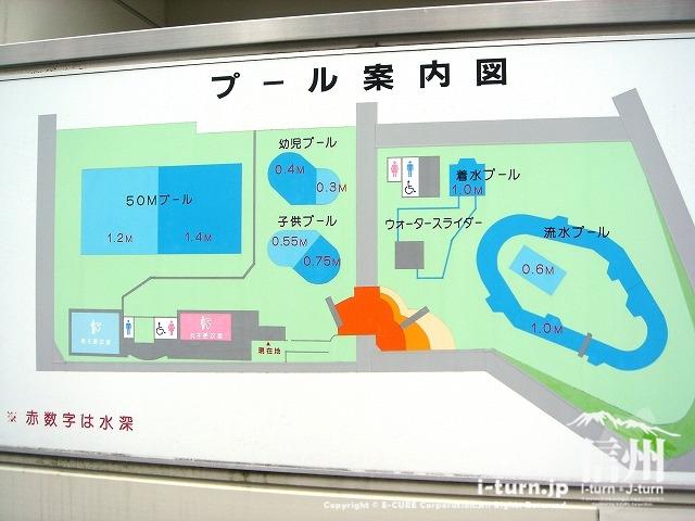 伊那市民プールの配置図看板
