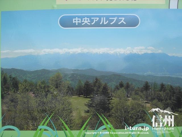 鹿嶺高原(かれいこうげん)の看板にある中央アルプスの写真