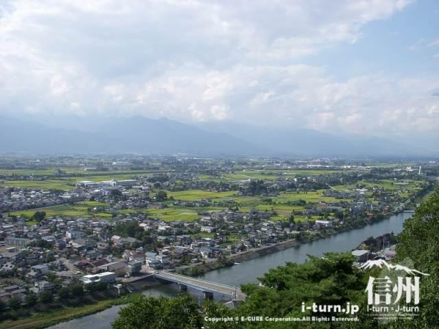 城山公園から西側、手前は奈良井川。
