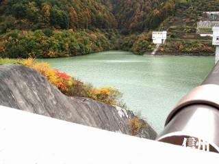 箕輪ダムの欄干から湖面上を見る