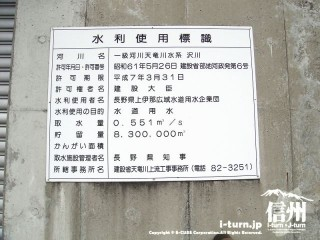 箕輪ダムの水利使用標識
