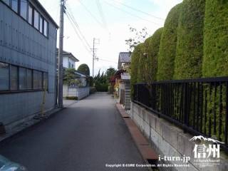 工場と植木に挟まれてさらに細い道