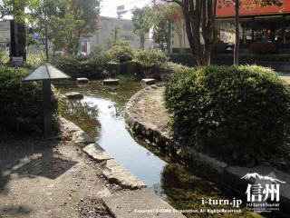 店の前にある池と水路