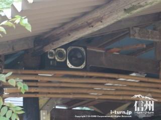 旧国鉄篠ノ井線廃線敷 クラブハウスのスピーカー