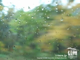 雨のしずくとバスの窓