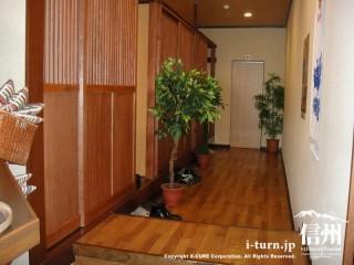 廊下と入り口です。緑の観葉植物が置かれている