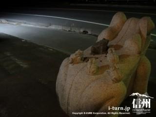 カエルの石像の背中には小カエルの石像
