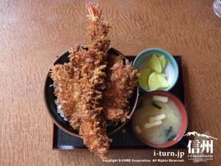 ジャンボ海老丼980円(ジャンボエビ1本、かぼちゃ、玉葱、ししとう、  ちくわ)+味噌汁セット100円