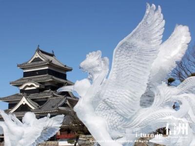 氷彫刻と松本城