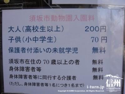 須坂市動物園入園料