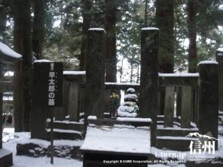 早太郎の墓も雪で寒そう
