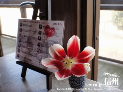 テーブル毎に花が違います