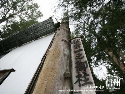 秋宮一之御柱 アップ 2004年建て御柱