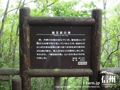 善五郎の滝の看板