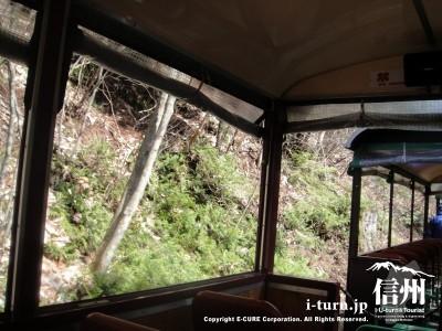 山すそをトロッコ電車は走ります