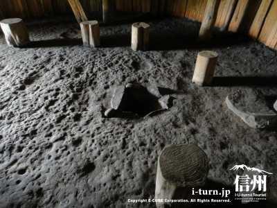 竪穴式住居の中にあった囲炉裏