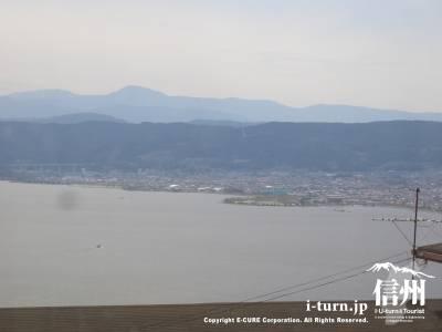 店内からの景色諏訪湖と岡谷・下諏訪方面