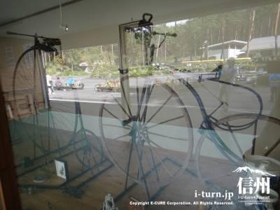 昔の自転車の展示