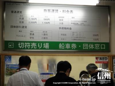 切符売り場と旅客運賃の案内