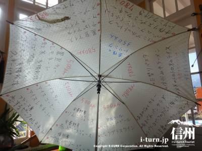 傘にメニューがかいてある